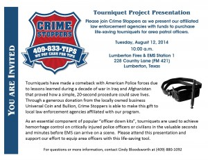 CRIME STOPPERS TO PROVIDE LIFE-SAVING TOURNIQUETS TO LAW ENFORCEMENT AGENCIES